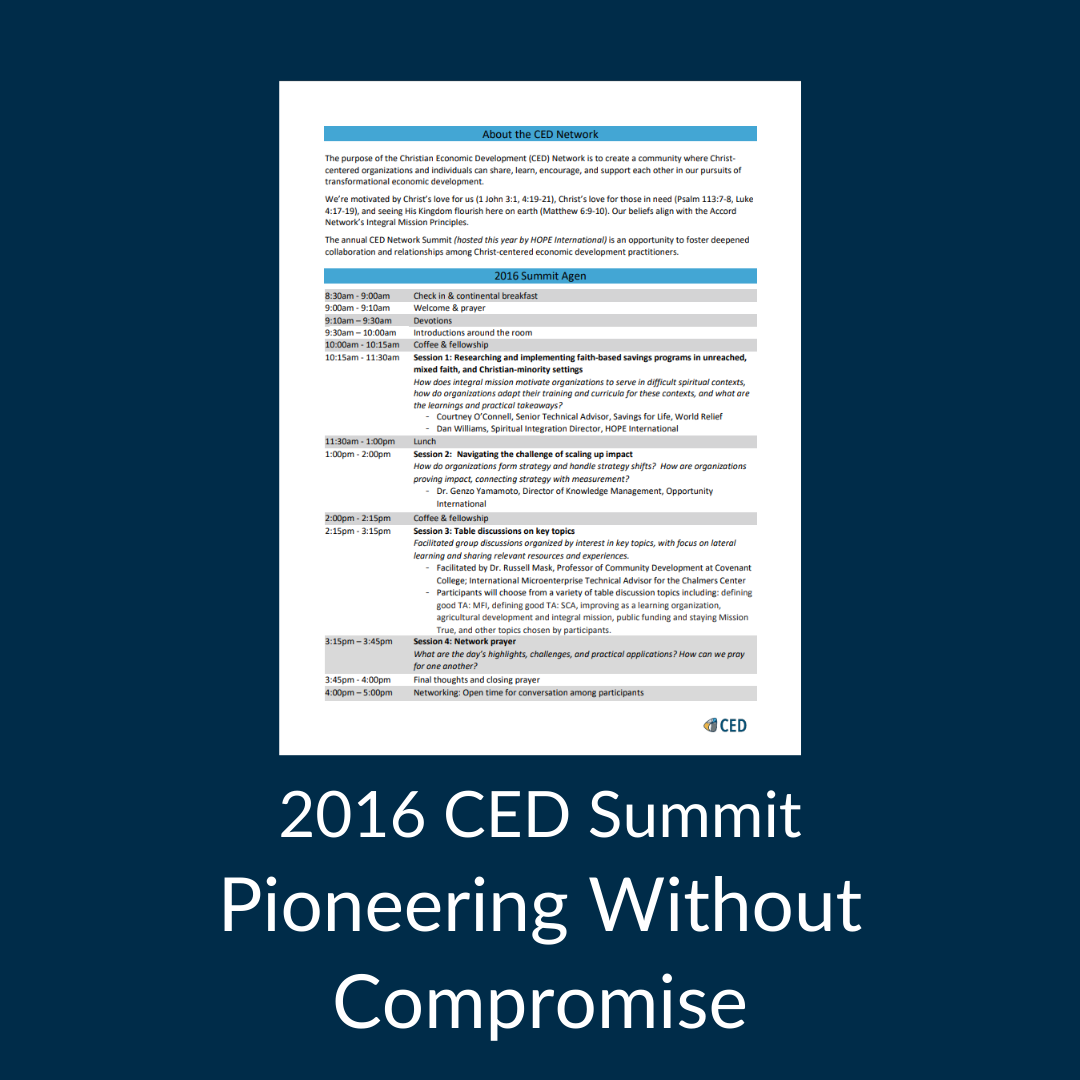 2016 CED Summit Agenda